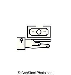 salaire, illustration., signe, concept., symbole, vecteur, ligne, icône, linéaire