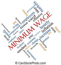 salaire, incliné, concept, mot, minimum, nuage