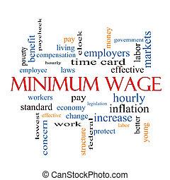 salaire, mot, concept, minimum, nuage