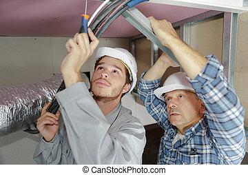 salaire, profil, plafond, ensemble, plat, ouvriers, nouveau