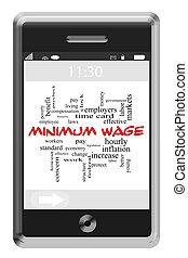 salaire, touchscreen, concept, mot, téléphone, minimum, nuage