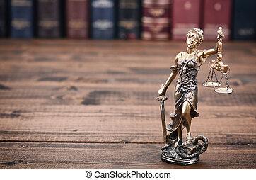 salak méltányosság, justitia, hölgy méltányosság, és, törvény beír, alatt, a, háttér.