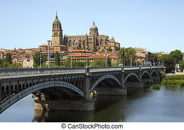 Salamanca - Spain - The Cathedral of Salamanca viewed from...