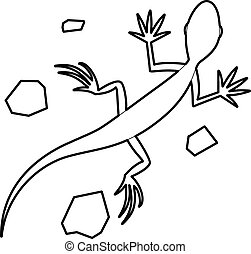 Salamander icon, outline style