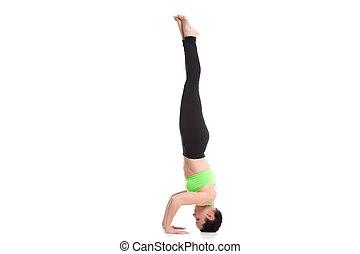 yoga indoors garuda salamba sirsasana beautiful young