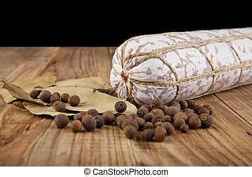 salame, 大蒜, 以及, 月桂樹, 離開
