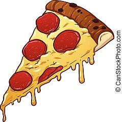 salame, rebanada, pizza