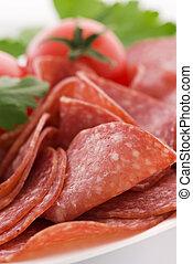 salami, à, tomate