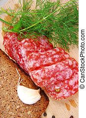 salami, bread, do góry szczelnie