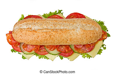 Fresh spicy salami sandwich with lettuce, tomatoes and cucumbers