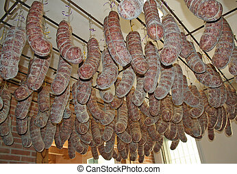 salami hanging in the basement of a butcher's
