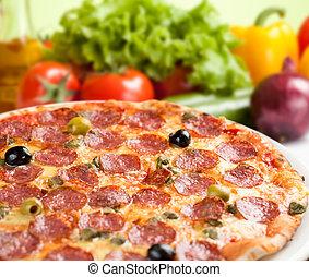 salami, légumes, italien, pizza