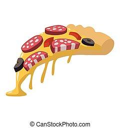 Salami pizza slice
