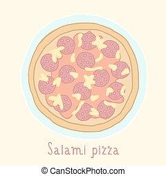Salami pizza.