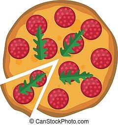 Salami pizza with arugula Print