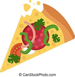 Salami pizza with veggies Print