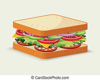 Salami sandwich emblem - Salami sandwich food emblem with ...