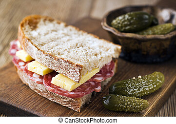 Salami sandwich - Fresh salami sandwich with cheese and...