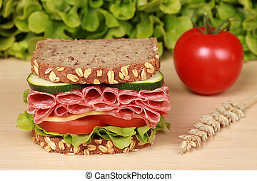 Salami Sandwich - Fresh sandwich with salami, cheese and...