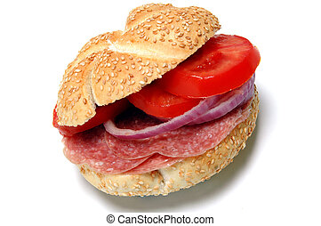 salami sandwich on kaiser roll