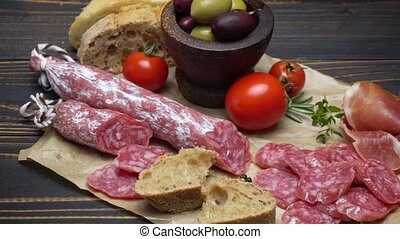 salami sausage close up on a wood board or table