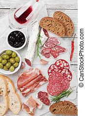 salami, schinkenkate, sausage, prosciutto, und, wein