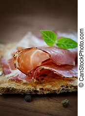 salami, schweinefleisch, getrocknete , kragen