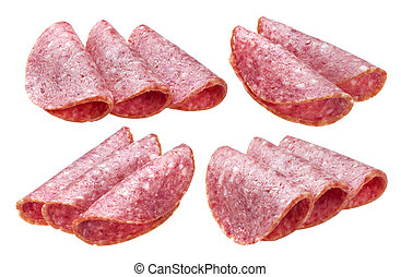 Salami slices isolated on white background, with clipping path