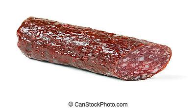 Salami smoked sausage stick isolated
