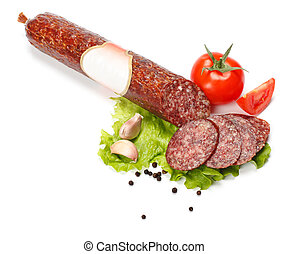 Salami stick with blank label and slices around