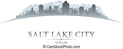 salare lago, fondo, città, utah, silhouette, bianco