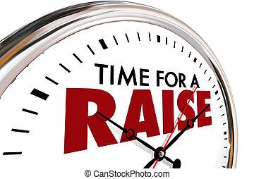 salario, aumento, orologio, tempo, illustrazione, reddito, più alto, 3d