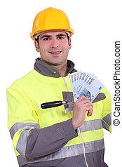 salario, manuale, lavoratore, presa a terra, settimanale