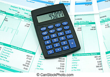 salary - 	black calculator and payroll summary details