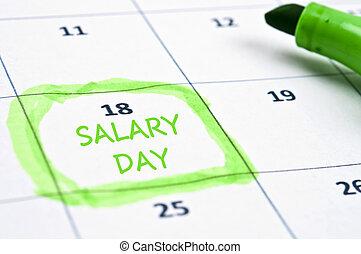 Calendar mark with Salary day