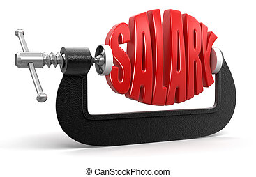 Salary in clamp. Image with clipping path