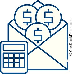 Salary line icon concept. Salary flat vector symbol, sign, outline illustration.