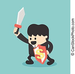salary man are ready to fight for financial gain or fight to success concept vector