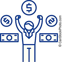 Salary payment line concept icon. Salary payment flat vector website sign, outline symbol, illustration.