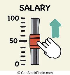 Salary scale - Illustration of cartoon hand push the switch ...