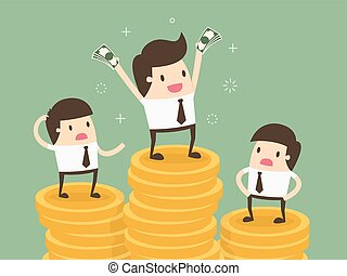 Salary variation. Business concept cartoon illustration