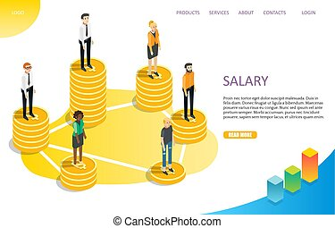 Salary wage landing page website vector template