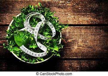 salat, band, hölzern, diät, rustic, messen, lebensmittel, ...