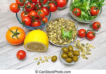 salat, bestandteile, hölzern, vorbereitung, hintergrund, gemüse