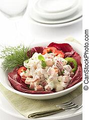 salat, gedient, mit, mayonnaise