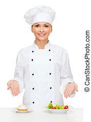 salat, küchenchef, weibliche , kuchen, platten, lächeln