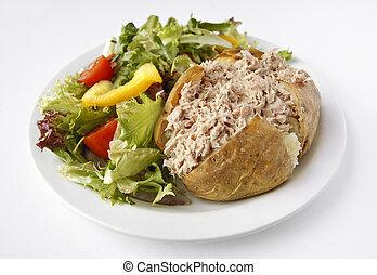 salat, kartoffel, mayo, jacke, thunfisch, seite