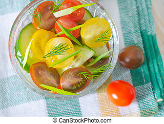 salat, mit, gemuese
