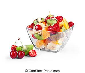 salaterka, odizolowany, szkło, tło, owoce, świeży, biały
