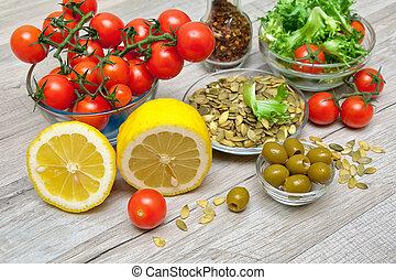 salatnahrung, koch, hintergrund, gemüse, frisch, hölzern